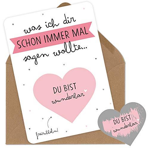 Rubbelkarten Grußkarten mit Umschlag du bist wunderbar für den Freund die Freundin den Mann der Frau der Mama den Papa zum Jahrestag Geburtstag Hochzeitstag