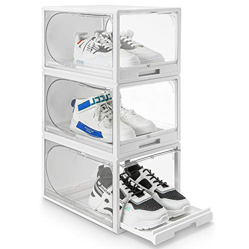 Homde Reinforced Shoe Organizer Drawer Type Shoe Box Clear Stackable Shoe Storage for Men and Women Size Up to US 14 Easy to Open Without Clamshell