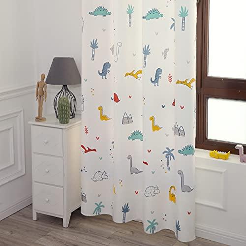 DALINA 2 Piezas Cortina de Dormitorio Infantil Juvenil Dos Paneles de 140x260cm con Ojales Plateados para Sala de Estar Cuarto de Niño Comedor Habitación Patrón de Dinosaurio Blanco