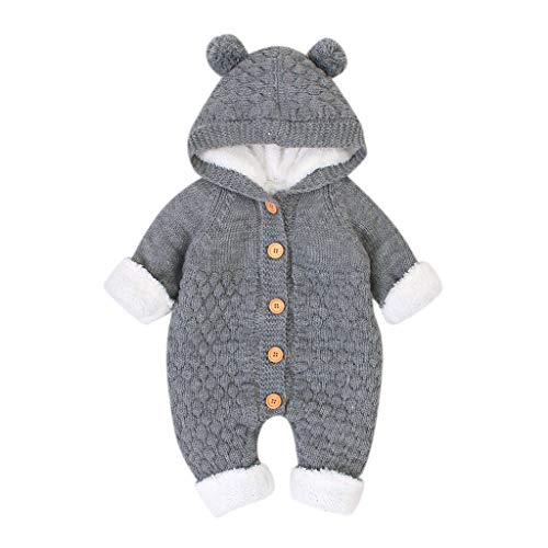 jerferr Neugeborenes Baby Plus Samt Winter Warmer Mantel Strick Outwear Kapuzenoverall