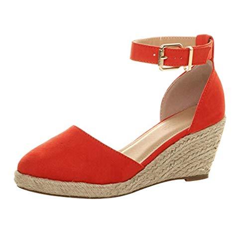 YWLINK Verano Nuevo Europa Y America CóDigo Grande De Comercio Exterior Zapatos De Mujer Paja Sandalias De CuñA Zapatillas De Playa Casuales Antideslizante Transpirable CóModo Baotou(Rojo,41EU)
