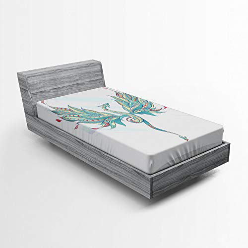 Ambesonne Celtic Dragon Fitted Sheet, Colorful Ornamental Flying Serpent Creature Fantasy Art, Soft Decorative Fabric Bedding All-Round Elastic Pocket, Twin Size, Aqua White