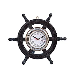 Handcrafted Model Ships Deluxe Class Wood and Chrome Pirate Ship Wheel Clock 12 - Wood Ship Wheel Cloc