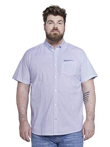 Tom Tailor Men Plus Herren Blusen, Shirts & Hemden Gemustertes Kurzarmhemd White by Navy Blue dot Design,5XL
