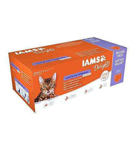 Iams Delights Land & Sea Collection Katzenfutter Nass - Multipack mit Fleisch und Fisch Sorten in Sauce, Nassfutter für Katzen ab 1 Jahr, versch. 48 x 85g