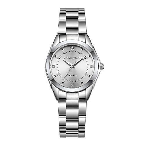 Donne Orologi, L ananas Classico Elegante Strass Acciaio Inossidabile Cinturino Quarzo Orologi da Polso Women Watches Wristwatches (Argento Puro)