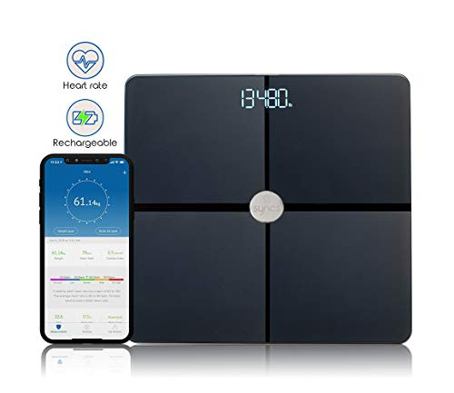 Syncs Bluetooth Scale with Heart Rate,Weight Loss Tracker, Smart Scale with Heart Monitor, Smart Digital Scale Fitness Tracker, Activity Tracker with 15 Body Health Statistics (All Surface, Black)