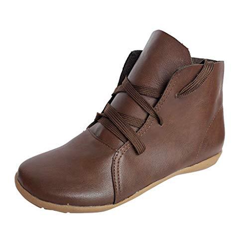 Yowablo Stiefel Kurzschaft Sneakers Lässige Retro-Leder Schnürung Leichtgewichtig Soft Bottom Flache Schuhe (43 EU,Braun)