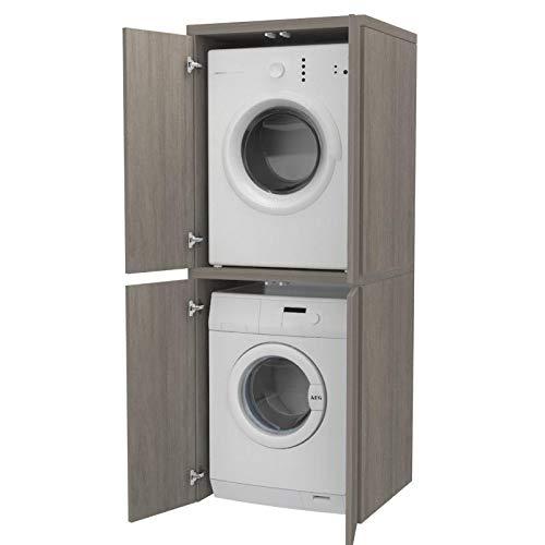 Ve.Ca. Mobile colonna con ante Coprilavatrice in legno, copri lavatrice/asciugatrice, diversi colori, anche su misura, lavanderia bagno (Rovere grigio)