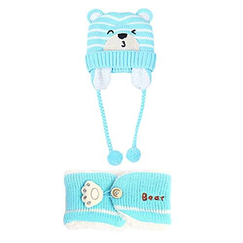 YONKINY Conjunto de Bufanda y Gorro de Punto para Bebe Niño Niña Linda Suave Sombrero Otoño Invierno Caliente Gorro con Bufanda de Lana Beanie Hat (Azul)