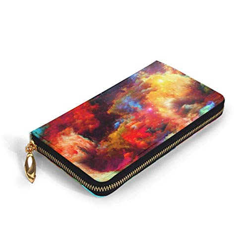 GYHJH Colorful Painting Graffiti Pattern Ladies Leather Clutch Slim Compact Zipper Wallet Waterproof Large Purse Durable Card Organizer with Slots