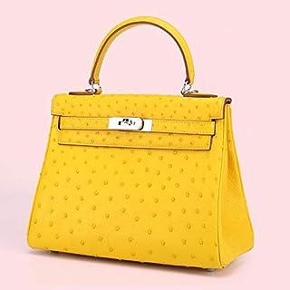 Ostrich Leather Handbags Handbags New European Style Fan Kaili Package Handbag Female (Color : Yellow)