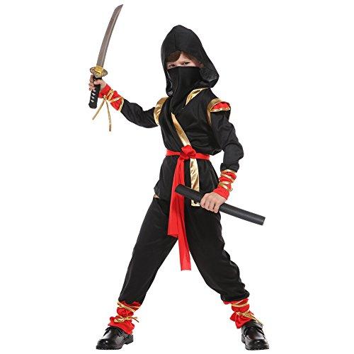 LOLANTA Ninja Warrior Kostüm für Jungen Kinderschwarzes Ninja Kostüm Halloween Shinobi Kostüm (6-7 Jahre)