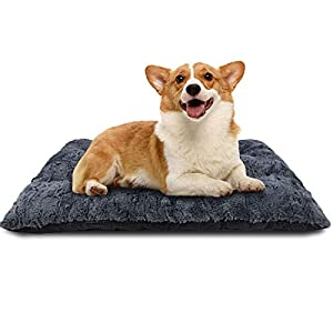 FURTIME Dog Bed Crate Pad Ultra Soft Washable Kennel Bed 24/30/36/42 Inch Anti-Slip Crate Sleeping Mat for Large Medium Small Dogs and Cats (29″ x 21″)