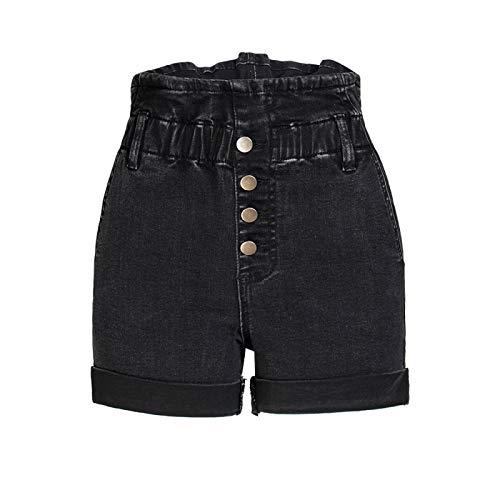 Pantalones Cortos de Mezclilla Lavados de Cintura Alta para Mujer Moda Suelta prensado Casual Versátil...
