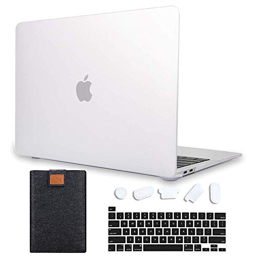 MAITTAO 4 in 1 Newest MacBook Air 13 Inch Case 2020 2019 2018 Release A1932/A2179, Plastic Hard Shell & Laptop Sleeve & Keyboard Cover for Mac Air 13 Case Retina Display fits Touch ID, Matte Clear