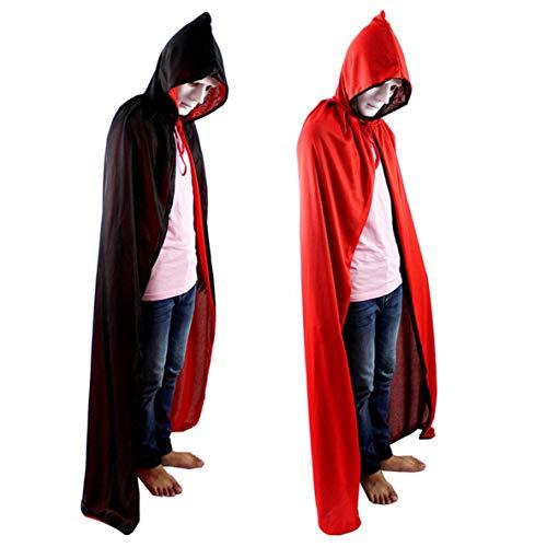 Moliies Doble Cara de Halloween Negro y Rojo Capa de Muerte