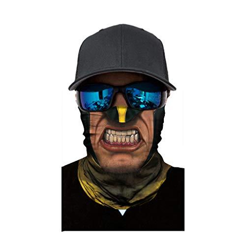 cinnamou Multiunktionstuch Maske Schal Kälteschutz Gesichtsmaske Fishing Totenkopf Schal Skull Bandana Gesichtsmaske Halstuch Ski Motorrad Paintball Halloween Maske (25CM X 50CM, G)