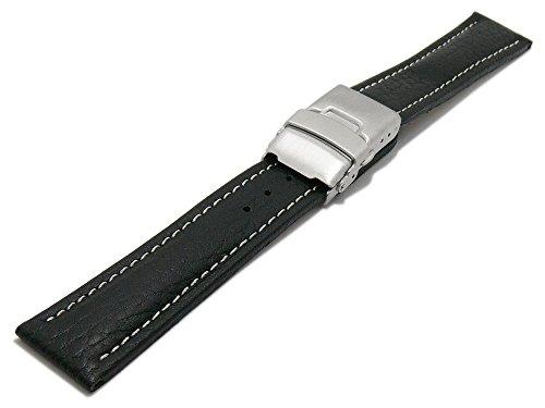 meyhofer Reloj de pulsera Drayton 22mm negro piel granulada) costura claro con cierre desplegable myheklb90/22mm/Negro/hn/FS