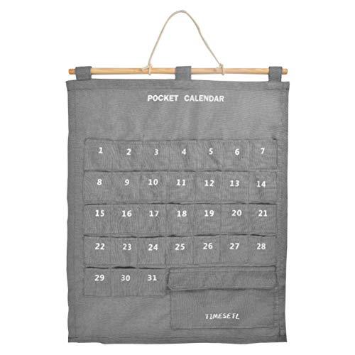 TIMESETL カレンダーポケット ウォールポケット 1ヶ月 壁掛け式 収納ポケット お薬カレンダー 小物収納 吊り下げ グレー