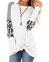 Dasivrry Women's Casual Tshirt Loose Fit Long Sleeve Tunics Cotton Blend Tee Shirts Tops White XL