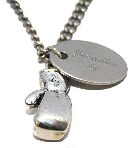 Luxus Graviert Gifts UK Tag der Hochzeit personalisiert Boxhandschuh Fighter Halskette in Geschenkbeutel, aa3N