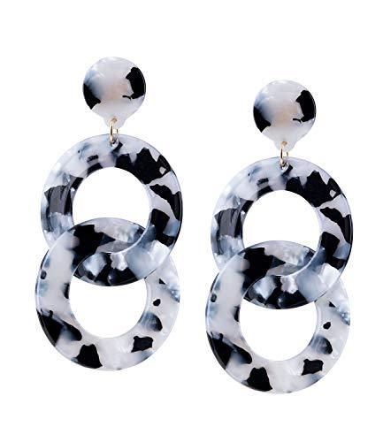 TOSH Auffällige Damen Statement-Ohrringe aus Ohrstecker und 2 großen Ringen in Schwarz und Weiß in Perlmutt-Optik (751-836)