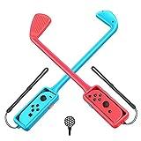 [Lot de 2] GTAplam Club de Golf Compatible avec Nintendo Switch, Poignée de Contrôleur Joy Con pour Mario Golf, Accessoires de Poignée de Jeux de Golf pour Super Rush - Rouge et Bleu