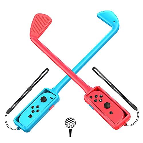 [2 Piezas] GTAplam Golf Club Compatible con Nintendo Switch, Joy con Controller Grip para Mario Golf, Golf Games Hand Grip Accesorios para Super Rush - Rojo y Azul