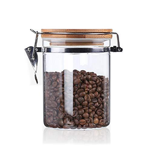 Usmascot Glas Aufbewahrungsdose mit Bambusdeckel, Borosilikatglas Kanistern, Dichtungsring aus Silikon, Schnappverschluss Glas Lebensmittel Vorratsdose Für Tee, Kaffee und mehr (850ml)