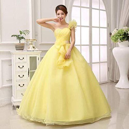 Ballkleid Luxuriöses Verlobungskleid mit Einer Schulter Ärmelloses Bodenlanges Polyester mit Drapierung, Pink, 3Xl, LIFU, Gelb, Mittel