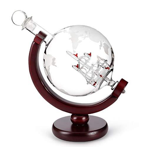 Cabilock Whisky Decanter Globe Set with Glass Wood Caoba Base Tray Dispensador de Whisky para Licor Antiguo Barco Whisky Scotch Bourbon Vodka