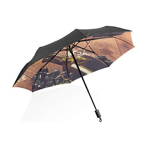 Paraguas invertido para Hombres Botella de Vidrio Vino Tinto UVA Corcho Portátil Paraguas Plegable Compacto Protección Anti UV A Prueba de Viento Viajes al Aire Libre Mujeres Paraguas Grande A Prueba