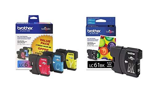Brother LC61 Ink Cartridge (Black, Cyan, Magenta, Yellow, 4-Pack) in Retail Packaging