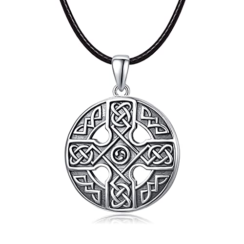 Celtic Knot Necklace Sterling Silver Asatru Shield Pendant Good Luck Irish Jewelry Gifts for Men Women Teens