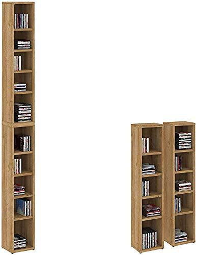 10 estantes de altura ajustable abiertas, tienen capacidad para alrededor de 160 CD de un estante de CD/DVD,Brown