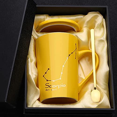 Taza de 12 constelaciones Tazas de café Tazas de leche Taza de té de cerámica Hombres Mujeres Amarillo 400ml Escorpio Regalo