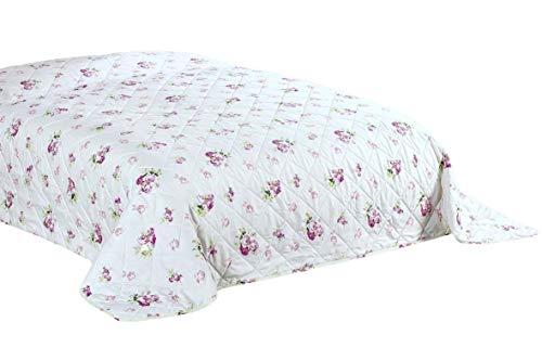 MB Warenhandel24 XXL Tagesdecke Allzweckdecke 220x240 cm Patchwork Landhaus Sofa Bettüberwurf (ca. 220x240 cm, Rose)