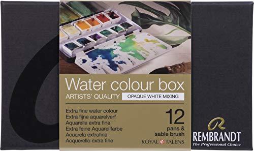 Rembrandt Watercolour Metal Opaque White Mixing Set of 12 x Half Pans