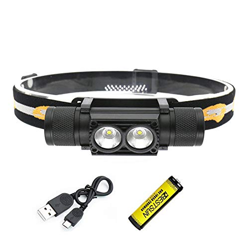 Linterna frontal LED recargable, 2000 lúmenes Linterna frontal Super brillante XML-L2 Vigas/Linterna con cabeza extraíble/regulable sin fin / 6 modos para acampar pesca Senderismo