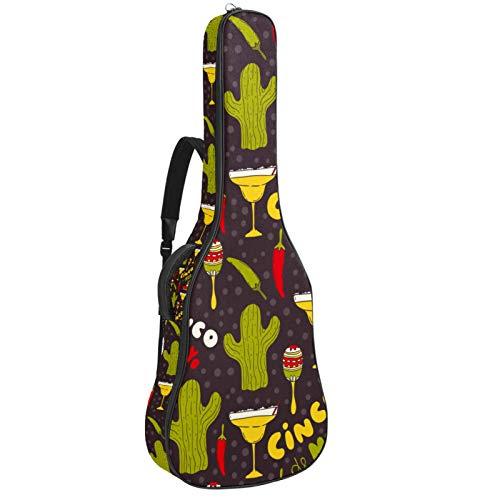 Bolsa para guitarra impermeable con cremallera, suave para guitarra, bajo, acústico y clásica, para guitarra eléctrica, bolsa de Cinco de Mayo, diseño de cactus, sombrero de chile