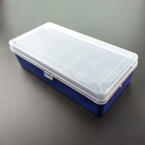 ZLZL Plastic Opbergdoos Sieradendoos Met Verstelbare Oorbel Opslag Containers Clear Kralen Case Lu Ya aas Box Transparant Dubbele Laag Sub-Bait Vouwaas Box Visserij Gear big Blauw