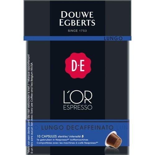 Douwe Egberts L´OR Espresso Lungo Decaffeinato, 10 Kaffee Kapseln, Nespresso kompatibel
