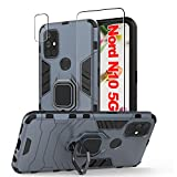 [3p] Jusy Oneplus Nord N10 5G Case & Tempered Glass Screen Protector & Camera Protector for 1+ Nord N10, Protective Case with Rotate Holder Kickstand and Magnetic Plate for Oneplus Nord N10 (Navy)