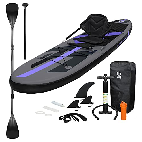 ECD Germany Tabla Hinchable Makani Paddle Surf con Asiento de Kayak Sup 305x78x15 cm Negro Stand up Paddle Board PVC/EVA hasta 120kg Diferentes Modelos Incluye Paleta Aluminio Bomba y Accesorios