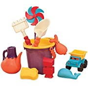 B. toys – B. Ready Beach Bag – Beach Tote with Mesh Panel and 11 Funky Sand Toys – Phthalates and BPA Free – 18 m+, Purple Bucket