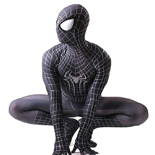 QWEASZER Super Spiderman Kostüm Herren Cosplay Party Kostüm Halloween Halloween Cosplay,Black Spiderman-XL