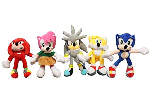 Miles Prower 5pcs/lot Plush Toys Cartoon Animal Backpack Blue Hedgehog Sonic Cute Anime Home Decorative Pet Doll Gift Toys for Children