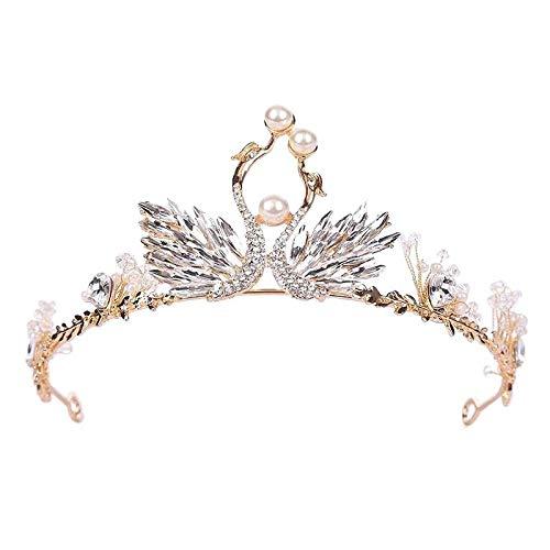LXWLXDF-Krone, Brautkrone Stirnband Swan Handgemachte Haar-Accessoires Perle Strass Prinzessin Kopfschmuck Brautkleid Hochzeit Zubehör Hochzeit Schmuck