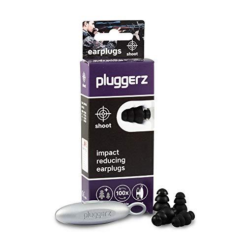 Pluggerz Shoot Uni-Fit oordopjes dubbelverpakking met speciaal filter ter bescherming tegen knalgeluiden, zoals bijvoorbeeld op schietstand of bij vuurwerk, gemaakt van zachte siliconen in twee maten